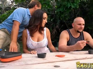 Young busty wife cheats on husband on a camping trip