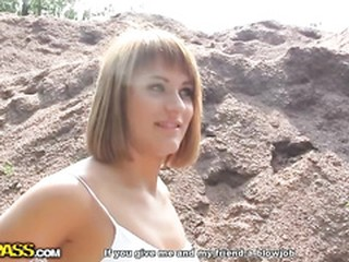 Sexy redhead in outdoor anal fuck