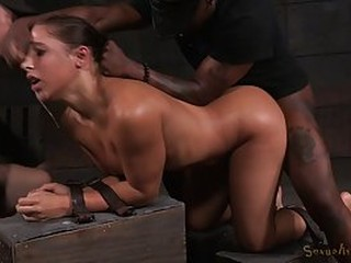 Kinky gal, Abella Danger got tied up and spit- roasted by black guys, Matt Williams and Jack Hammer