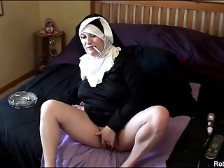 'Smoking Cigarette Nun Fills Asshole with Large Cock Dildo Live Cam Religious Blasphemy Church Fun'