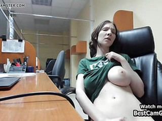 Hot Babe Loves To Play Hairy Pussy On The Office