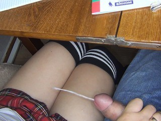 ¾ AGAIN SCHOOLGIRL HANDJOB CLASSMATE UNDER THE TABLE ON LESSON - SANYANY